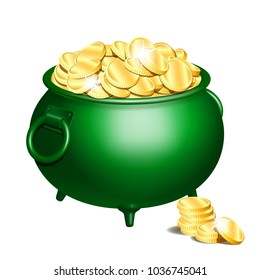 Green iron cauldron full of gold coins isolated on white background. Stack of gold coins near the green pot. St. Patricks Day symbol. Vector illustration.