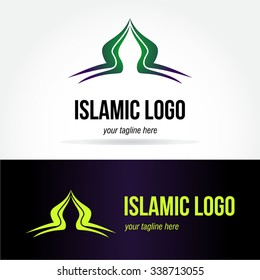 Green islamic concept abstract vector logo design template paper creative office icon business company symbol in dark purple backgrounds