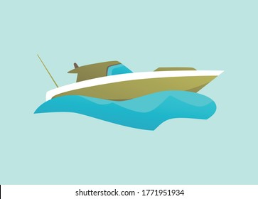 Green isolated motorboat riding blue water wave - side view of modern speed boat with cabin. Cruiser, pilothouse or cuddy type speedboat - flat vector illustration.