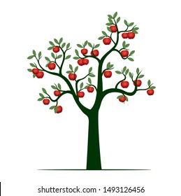 Green Isolated Tree on white background. Red Apple Fruits. Vector Illustration and concept. Plant in garden.