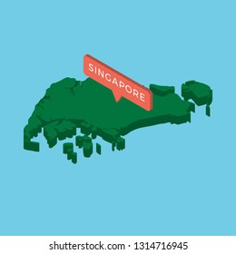 green isometric map of country singapore with pointer on blue background. realistic 3d vector concept map easy to edit and customize. eps 10
