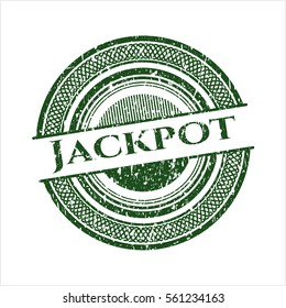 Green Jackpot distressed rubber grunge seal
