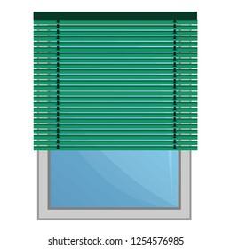 Green jalousie icon. Cartoon of green jalousie vector icon for web design isolated on white background