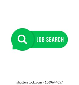 green job search simple button. cartoon minimal hiring logotype graphic color badge design isolated on white. concept of find digital cv or resume on internet jobsite and social media opportunity