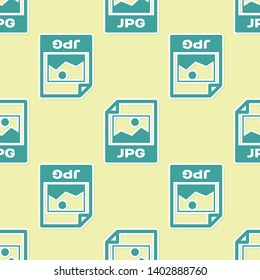 Green JPG file document icon. Download image button icon isolated seamless pattern on yellow background. JPG file symbol. Vector Illustration
