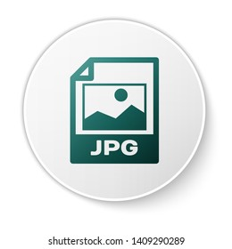 Green JPG file document icon. Download image button icon isolated on white background. JPG file symbol. White circle button. Vector Illustration
