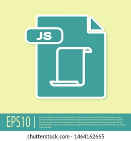Green JS file document. Download js button icon isolated on yellow background. JS file symbol.  Vector Illustration