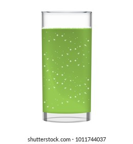 Green juice with smoothie glass and sparkling bubbles. Fruit organic drink. Transparent photo realistic illustration.