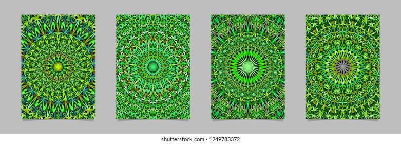 Green jungle kaleidoscope mandala page background template set - vector stationery graphics