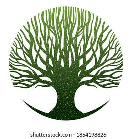green kalpataru Kalpavriksha symbolic tree in circle round shape with vintage grain snow effect