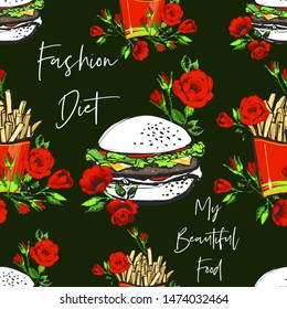 Green khaki fast food seamless with hamburger, french fry and motivational texts. Stylish modern textile design. Vector fashion sketch. Green background. Vintage fabric print. Beautiful pattern