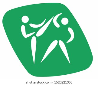 Green kickboxer icons in isolate on white background. Kickboxing.  Vector illustration.