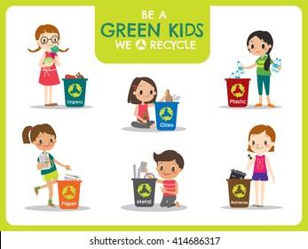 Green kids segregating trash recycling concept illustration