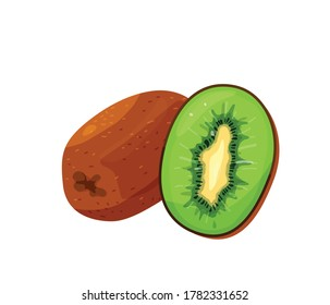 Green kiwi cut and whole in bright color cartoon flat style isolated on white background. Healthy food vector illustration. Organic meal concept.