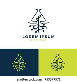 green lab leaf tech logo vector line art outline download