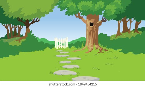 Green lan and garden gate with tree background vector illustration
