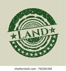 Green Land distressed rubber seal with grunge texture