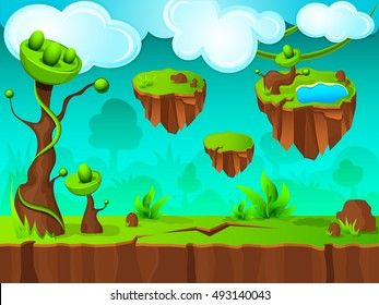 Green land game layer design with clouds and hanging islands in sky fantastic trees vector illustration
