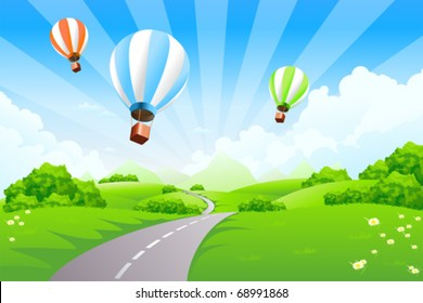 Green Landscape with Balloons clouds mountains road Background poster