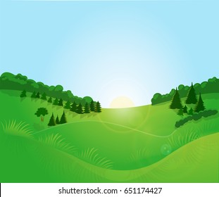 Green landscape with blue sky. A bright forest glade, a field. Sunrise, blue sky, clouds. Herbs, forest trees. Rays of the rising sun. Green background. Vector illustration.