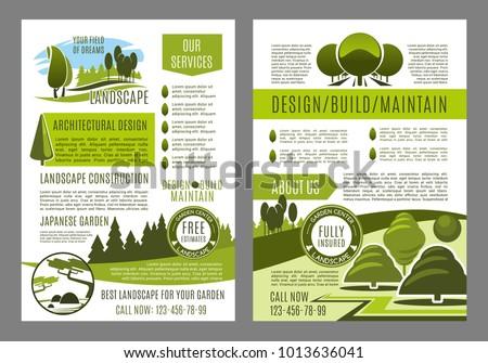 Green Landscape Design Brochure Template Build Stock Vector (Royalty ...