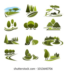 Green landscape design icons template for build and maintain service or eco environment company. Vector symbols of gardening or garden horticulture landscaping for green ecology nature trees or park