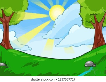 Green landscape with hills and trees. Summer landscape scene with cloudy sky. Vector Illustration. cartoon illustration of a green summer landscape - Glade in a forest. Nature landscape 2d background
