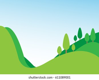 Green landscape, mountain and trees on blue sky background, green hill, vector illustration