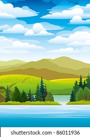 Green landscape with mountains, trees and blue lake on a sky background