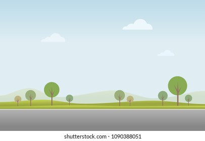 Green landscape with road, blue sky vector