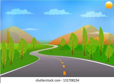 Green landscape with road, sun, trees and clouds