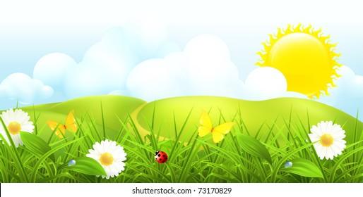 Green landscape, spring vector background