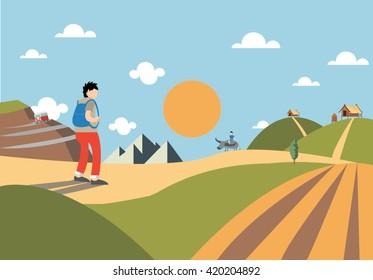 green landscape of sunny morning vector illustration