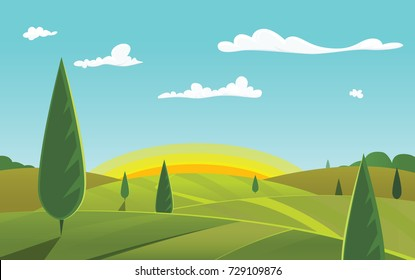 Green landscape with sunrise. Rural view. Vector