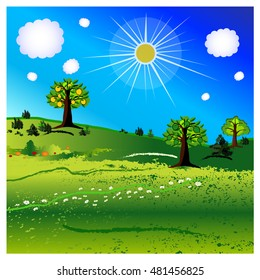 green landscape,seasonal background,vector summer background with sun and clouds and trees and grass