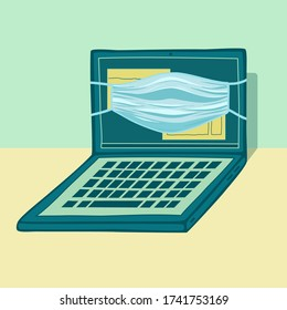 Green laptop with medicine mask vector illustration. Open notebook front view and blue mask on green background. Electronic device in vintage style. Computer service, webinar,online education logo