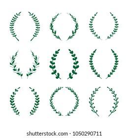Green Laurel Wreath Vector Set