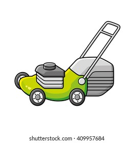 Green lawn mower vector icon.