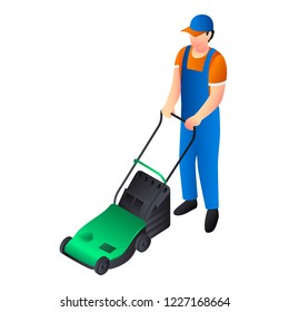 Green lawnmower icon. Isometric of green lawnmower vector icon for web design isolated on white background