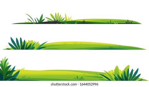 Green lawns with grass and plants on white background, composition of plants on the sunny lawn