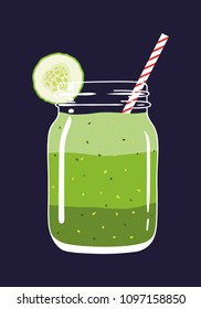 Green layered smoothie in mason jar with cucumber slice and swirled straw isolated on background. Fresh natural healthy green vegetable drink. Vector hand drawn illustration eps10.