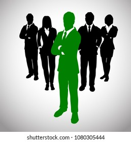 Green Leader before a Team of Successful executives. A team of Successful executives led by a successful and great leader.
