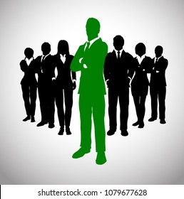 Green Leader in front of his team of executives. A team of executives led by a great and successful leader who stands in front of them.