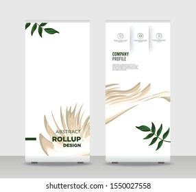 Green leaf Abstract Shapes Modern Exhibition Advertising Trend Business Roll Up Banner Stand Poster Brochure flat design template creative concept. White background Roll Up EPS. Presentation