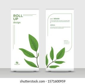 Green leaf Abstract Shapes Modern Exhibition Advertising Trend Business Roll Up Banner Stand Poster Brochure flat design template creative concept. Green leaf Roll Up EPS. Presentation Cover