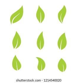 green leaf bio eco set vector logo