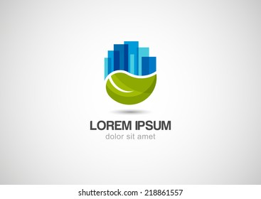 Green leaf with blue city buildings silhouette. Vector logo template. Abstract design concept for ecology theme, real estate agency, building company, urban landscape, city life.