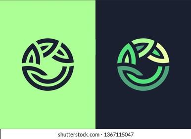 Green leaf circle seedling growing plant logo.