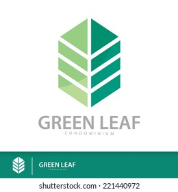 Green leaf condominium logo template design elements, Real Estate symbols icon. vector illustration, Sustainability construction concept