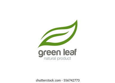 Green Leaf eco organic Logo design vector template